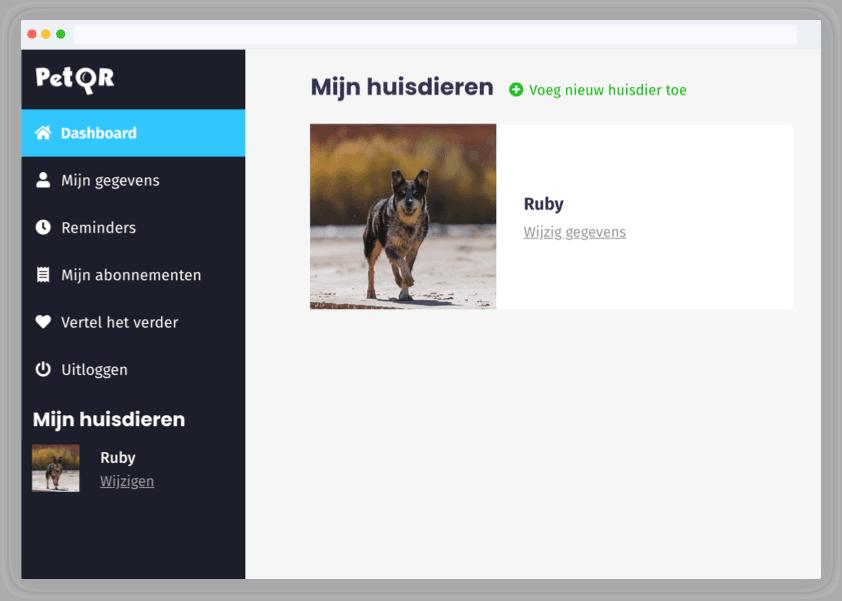 Voorbeeldprofiel Pet QR